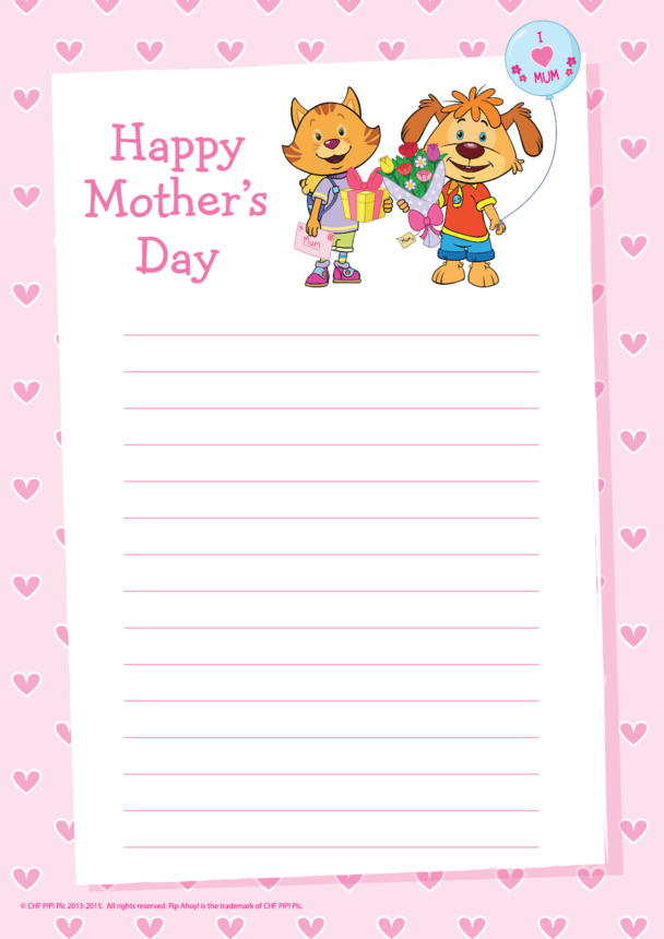 Pip Mother's Day Writing Paper (Pip Ahoy!)