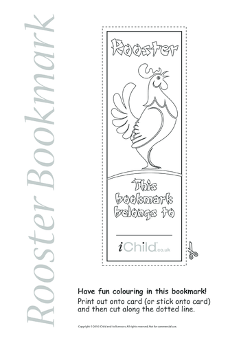 Thumbnail image for the Rooster Bookmark activity.