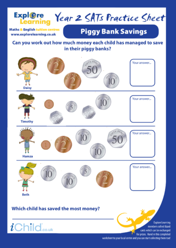 Thumbnail image for the SATS Practice Paper Year 2: Piggy Bank Savings activity.