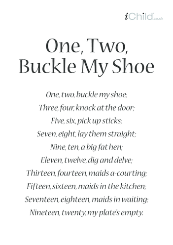 Thumbnail image for the One, Two, Buckle My Shoe activity.