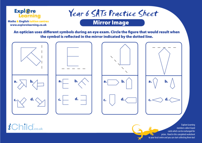 Thumbnail image for the SATS Practice Paper Year 6: Mirror Image activity.