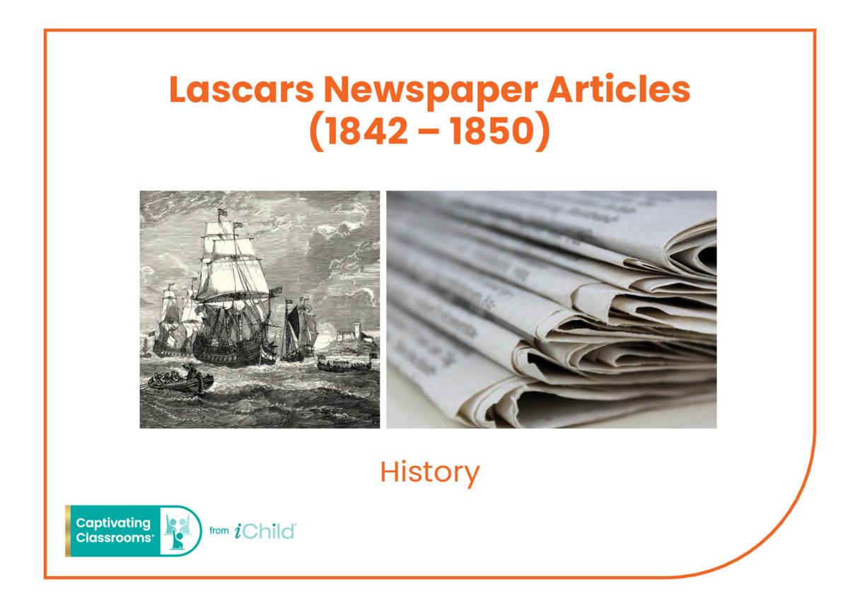 Lascars Newspaper Article: 1842 Seamen's Hospital Society