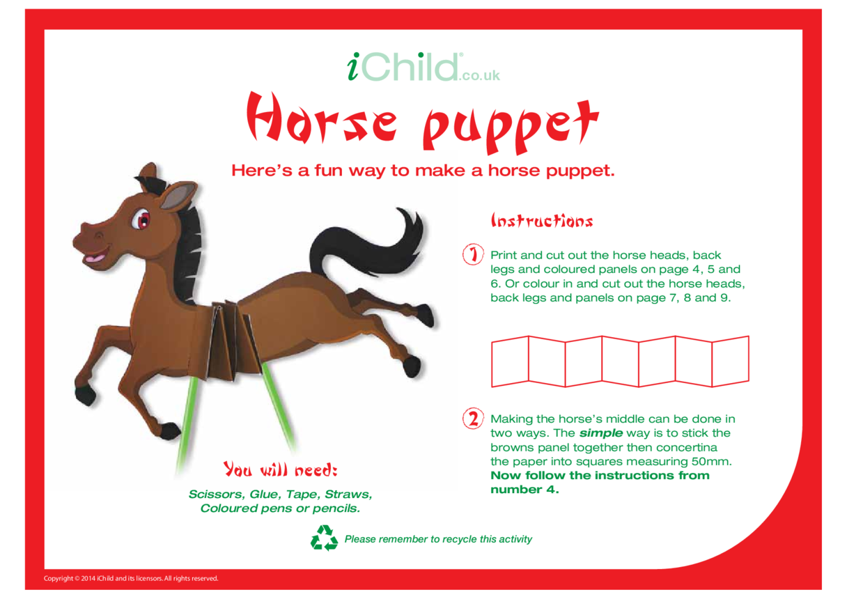 Chinese New Year Horse Craft Puppet