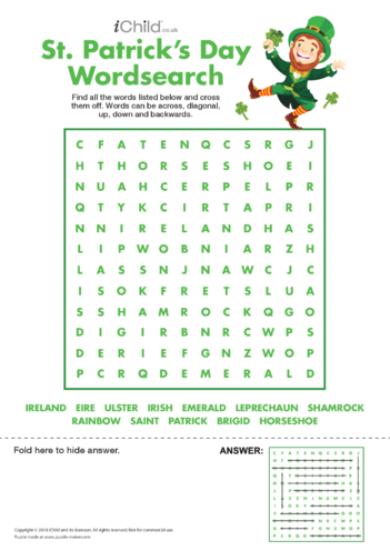 Thumbnail image for the St. Patrick's Day Wordsearch activity.