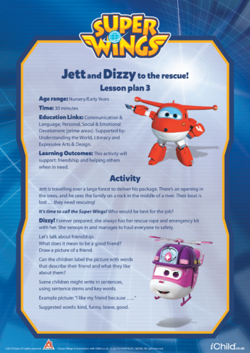 Thumbnail image for the Super Wings: Lesson Plan 3, Jett and Dizzy to the Rescue! activity.