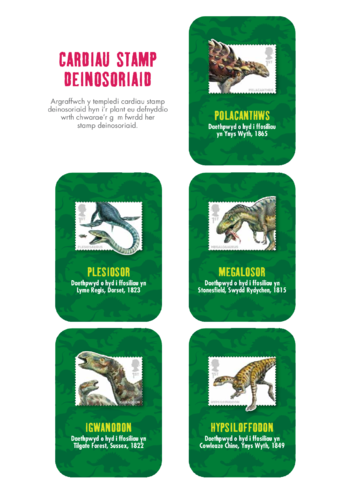 Thumbnail image for the Welsh Language Primary 5) Dinosaur Cards activity.