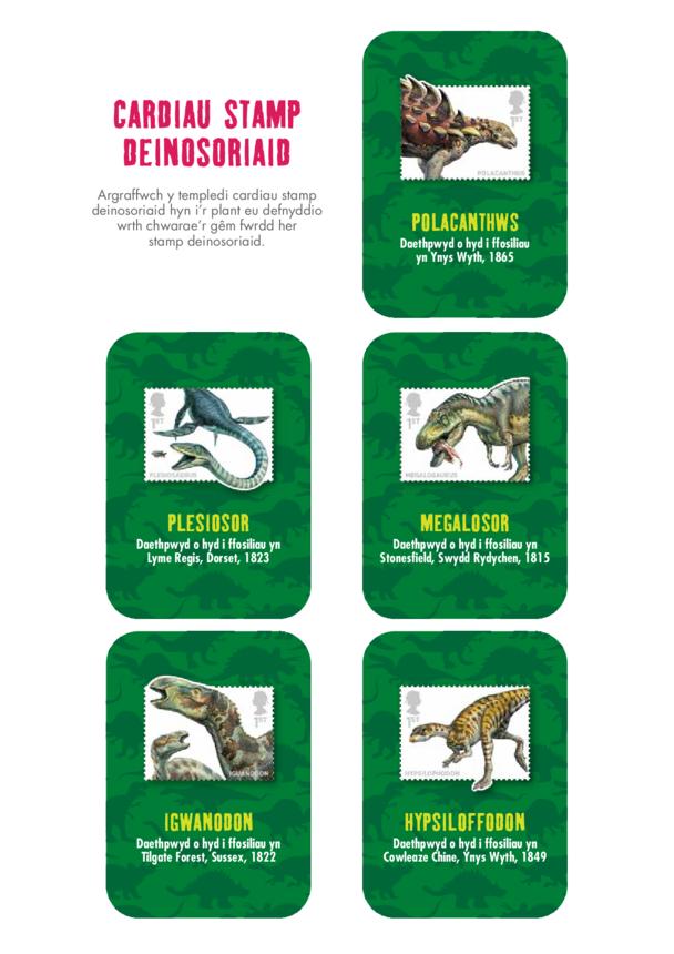Welsh Language Primary 5) Dinosaur Cards