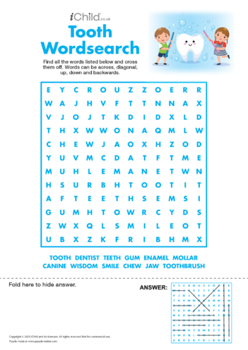 Thumbnail image for the Tooth Fairy Wordsearch activity.