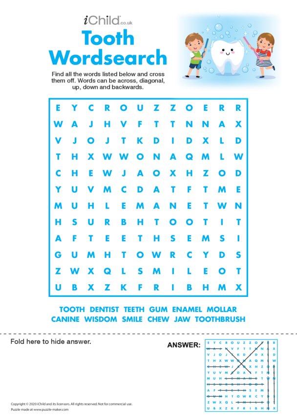 Tooth Fairy Wordsearch