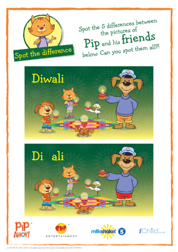 Thumbnail image for the Diwali Spot the Difference (Pip Ahoy!) activity.