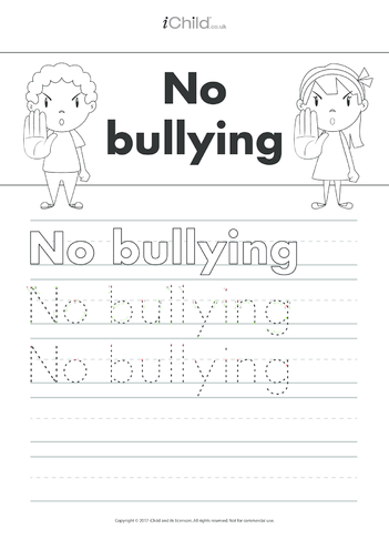 Thumbnail image for the No Bullying Handwriting Practice Sheet activity.