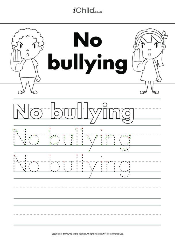 No Bullying Handwriting Practice Sheet