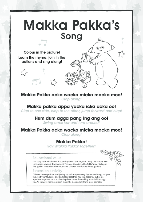 Makka Pakka's Song, Black & White