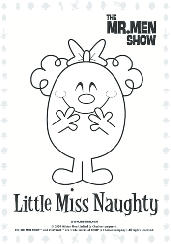 Thumbnail image for the Little Miss Naughty Colouring in picture activity.