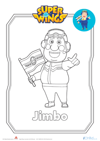 Thumbnail image for the Super Wings: Jimbo Colouring in Picture activity.