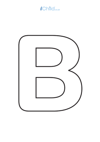 Thumbnail image for the B: Poster of the Letter 'B', black & white activity.