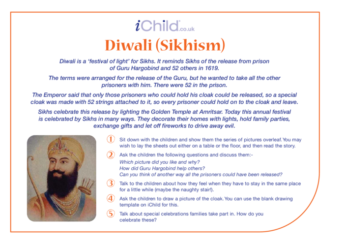 Thumbnail image for the Diwali (Sikhism) Religious Festival Story activity.