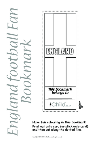 Thumbnail image for the England Flag Bookmark activity.