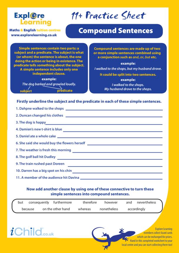 English: 11 Plus Practice Paper- Compound Sentences