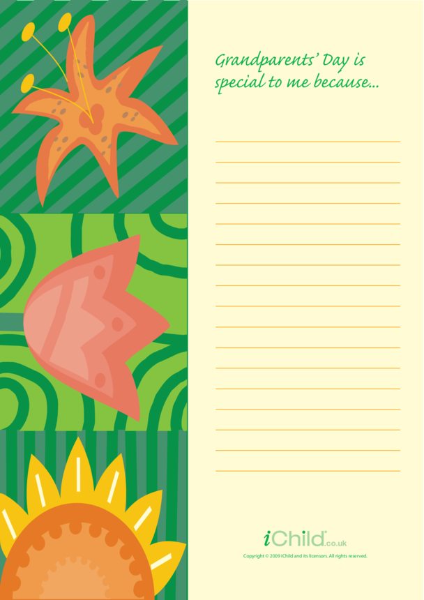Grandparents' Day Lined Writing Paper Template