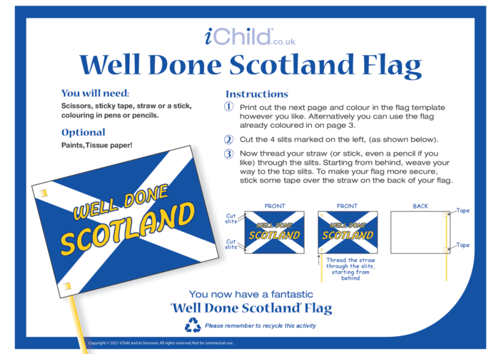Thumbnail image for the Well Done Scotland Flag activity.
