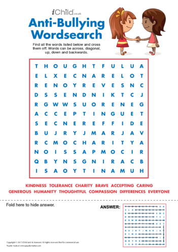 Thumbnail image for the Anti-Bullying Wordsearch activity.