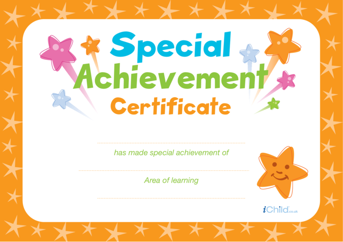 Thumbnail image for the Special Achievement Certificate (orange) activity.