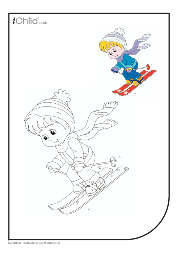 Skier Colouring in Picture