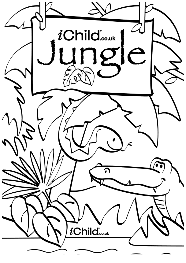 Jungle Colouring Poster and Puppet Scenery