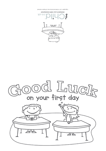 Thumbnail image for the Good Luck on Your First Day Greeting Card activity.