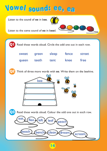 Thumbnail image for the Collins Easy Learning KS1 English Spelling, Vowel Sounds: ee and ea activity.