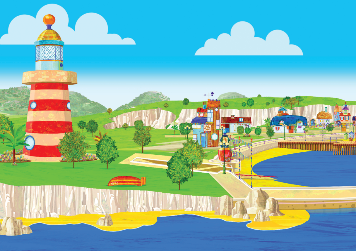 Lighthouse & Salty Cove Puppet Theatre Backdrop (Pip Ahoy!)