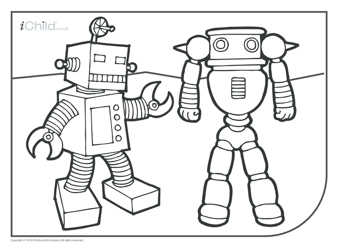 Thumbnail image for the Robots Colouring in picture activity.