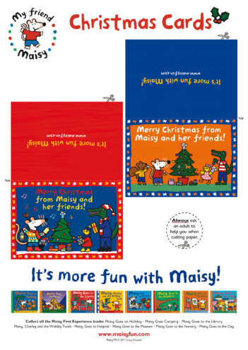 Thumbnail image for the Maisy Christmas Cards (Blue & Red) activity.