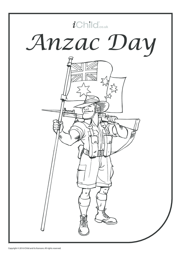 Anzac Day Colouring in Picture
