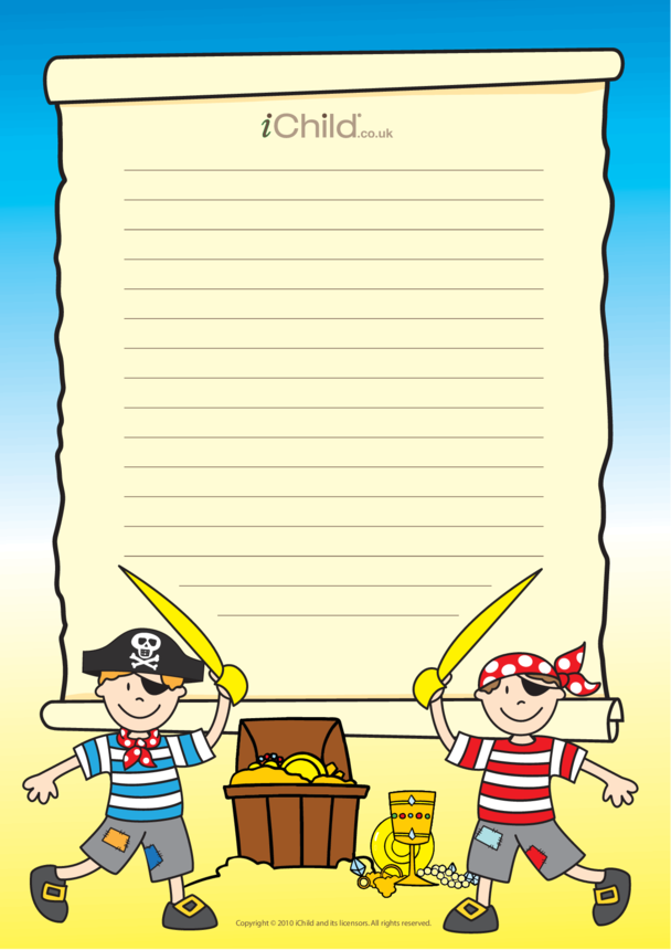 Pirate Lined Writing Paper Template
