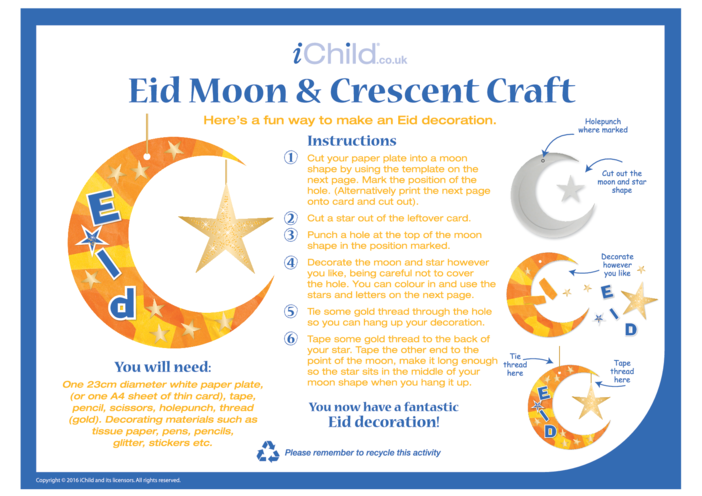 Thumbnail image for the Eid Moon & Crescent Craft Paper Plate Craft activity.