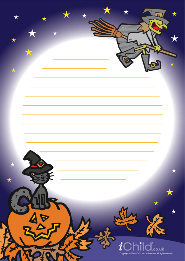 Halloween Lined Writing Paper Template