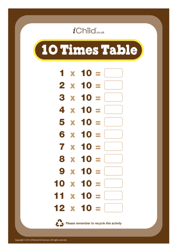 (10) Ten Times Table Question Sheet
