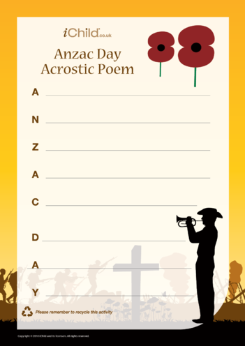 Thumbnail image for the Anzac Acrostic Poem activity.