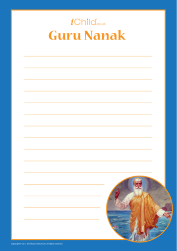 Thumbnail image for the Guru Nanak Lined Writing Paper Template activity.