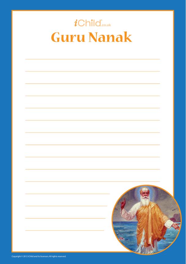 Guru Nanak Lined Writing Paper Template