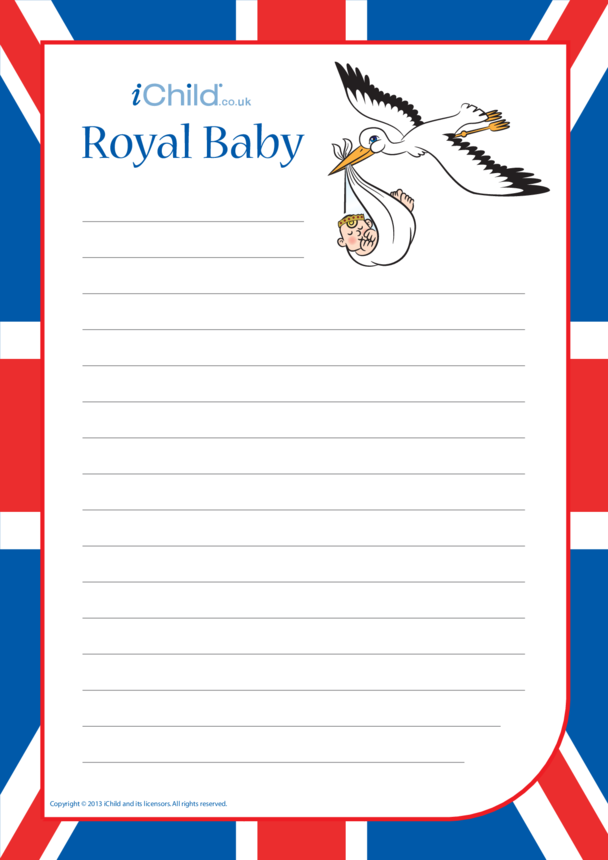 Royal Baby Lined Writing Paper Template