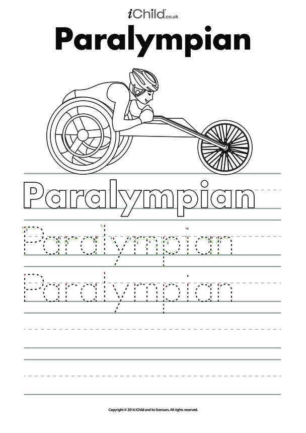 Paralympian Handwriting Practice Sheet