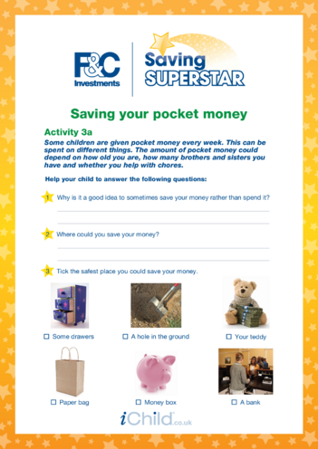 Thumbnail image for the Age 5-7 years (3a) Saving your pocket money activity.