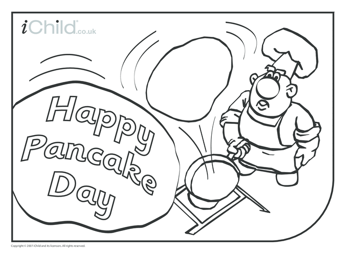 Thumbnail image for the Pancake Day Colouring in picture activity.