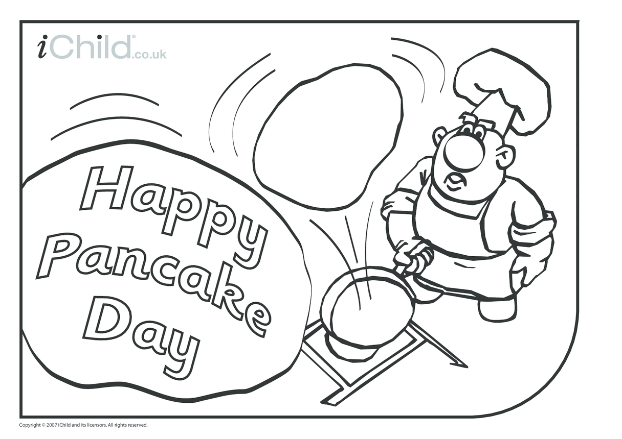Pancake Day Colouring in picture