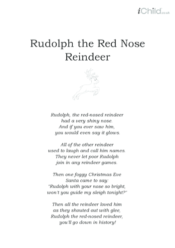Thumbnail image for the Christmas Carol Lyrics: Rudolph The Red Nosed Reindeer activity.