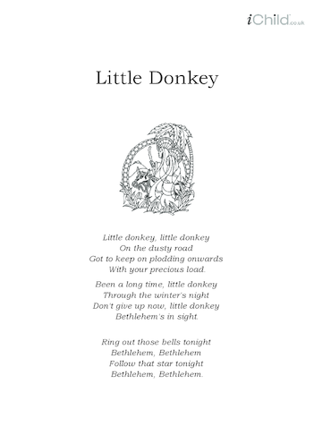 Thumbnail image for the Christmas Carol Lyrics: Little Donkey activity.