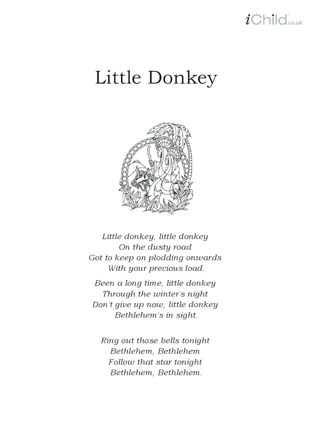 Christmas Carol Lyrics: Little Donkey
